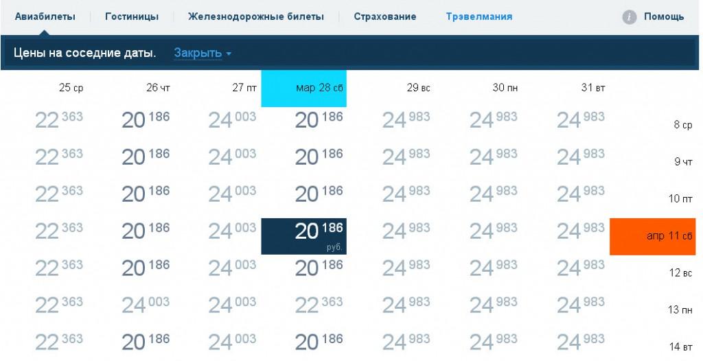 Вот в такой таблице очень понятно и доступно можно определить дни  поездки с минимальной стоимостью билета